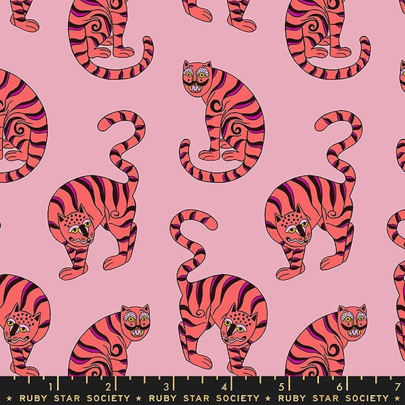 Air Flow, Tiger in the Taiga, RS6005-13 Peony, Sasha Ignatiadou, Ruby Star Society Fabric, 100% Cotton