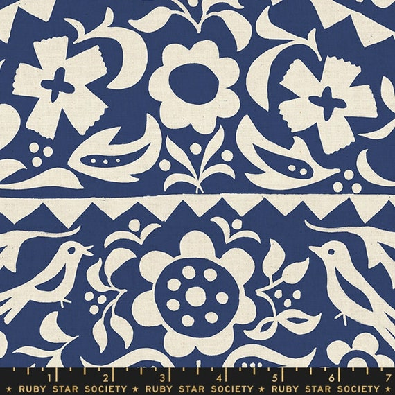 Add It Up and Alma by Alexia Marcelle Abegg -- Ruby Star Society Fabric, RS4001-12 Fat Quarter of Alma Floral Indigo
