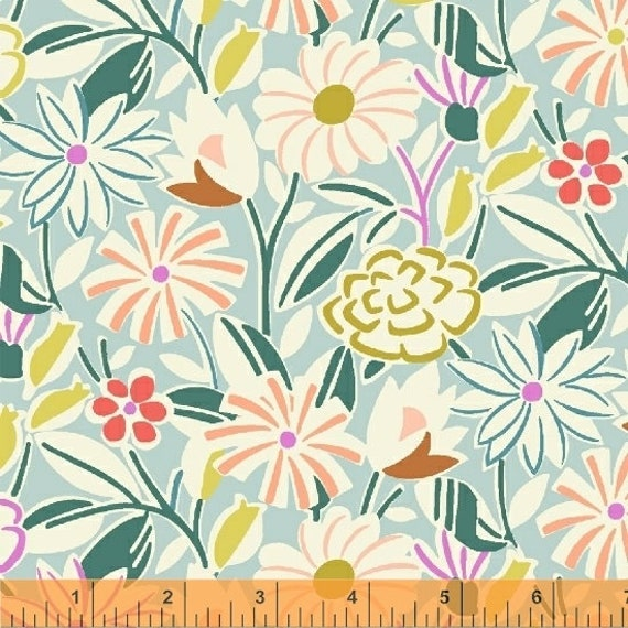 Penelope by Annabel Wrigley for Windham Fabrics - Cut Paper in Seafoam