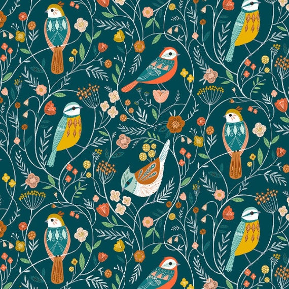 Aviary by Bethan Janine for Dashwood Studio - Fat Quarter of Aviary in Perched