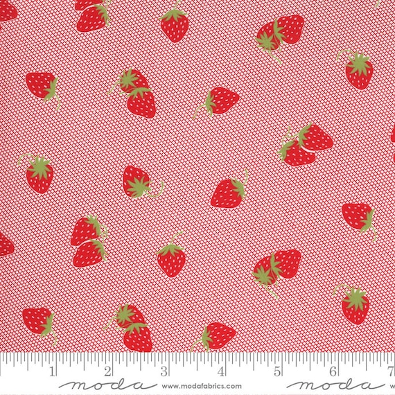 Sunday Stroll -- Strawberries in Red  (5223 12) by Bonnie and Camille for Moda -- Fat Quarter