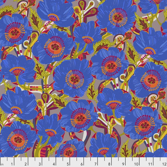 Shannon Newlin Vibrant Blooms -- Fat Quarter of Rose in Blue