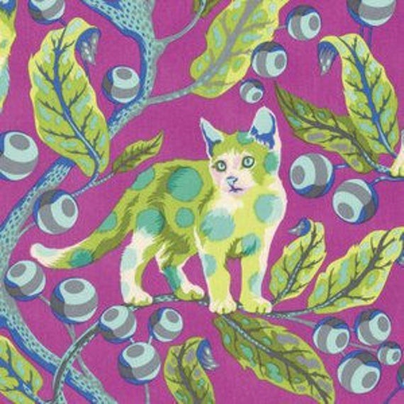 Fat Quarter Disco Kitty in Berry Bird - Tula Pink's Tabby Road