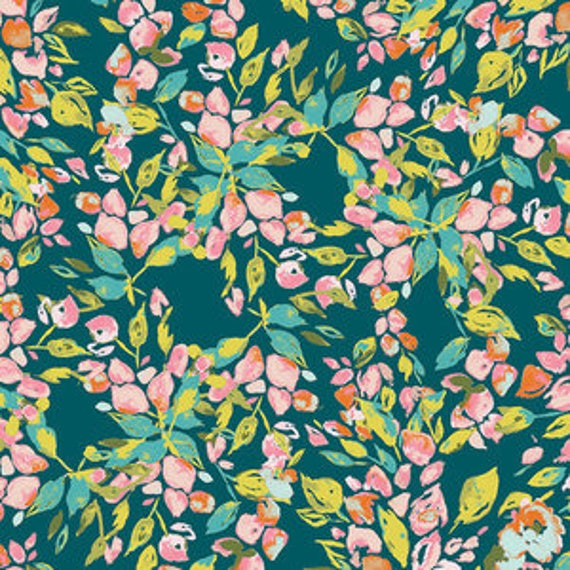 Sage by Bari J Ackerman for Art Gallery Fabrics - Bougainvillea in Evergreen
