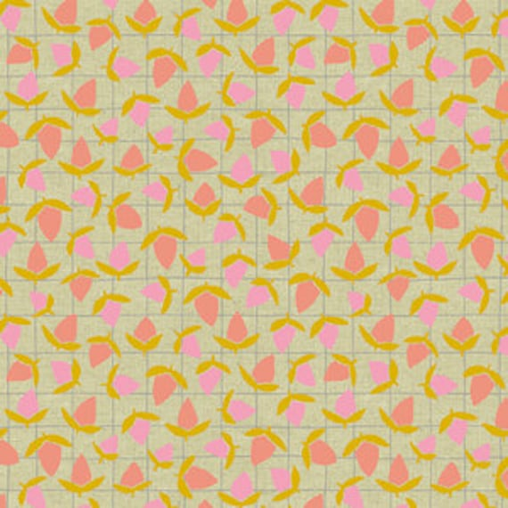 Tiger Plant by Sarah Golden for Andover Fabrics - Flower Buds in Sherbet Metallic -- Cotton/Linen - Fat Quarter
