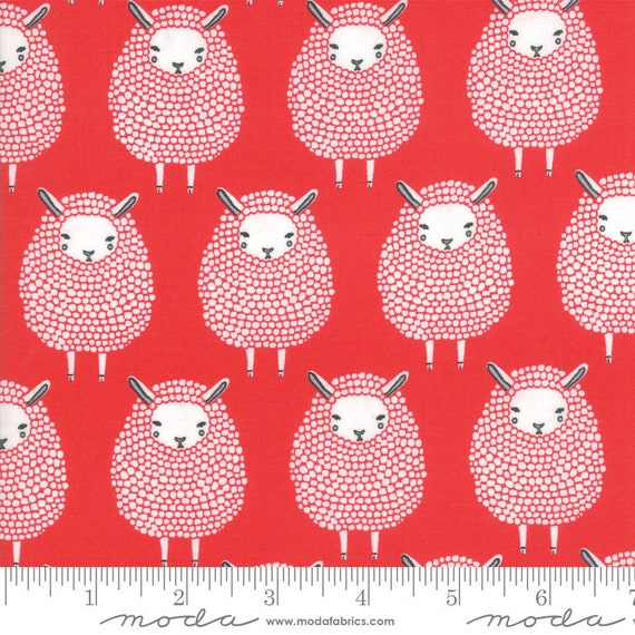 Farm Charm -- Black Sheep in Rooster Red (48291 14) by Gingiber for Moda -- Fat Quarter