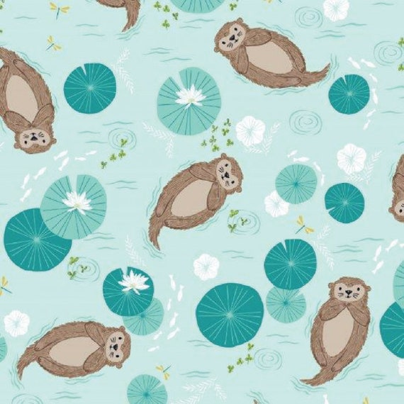 Rivelin Valley by Bethan Janine for Dashwood Studio - Fat Quarter of Otters on Blue