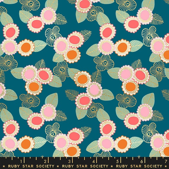 Purl by Sarah Watts -- Embroidered Floral in Teal (RS203614M) by Ruby Star Society for Moda -- Fat Quarter