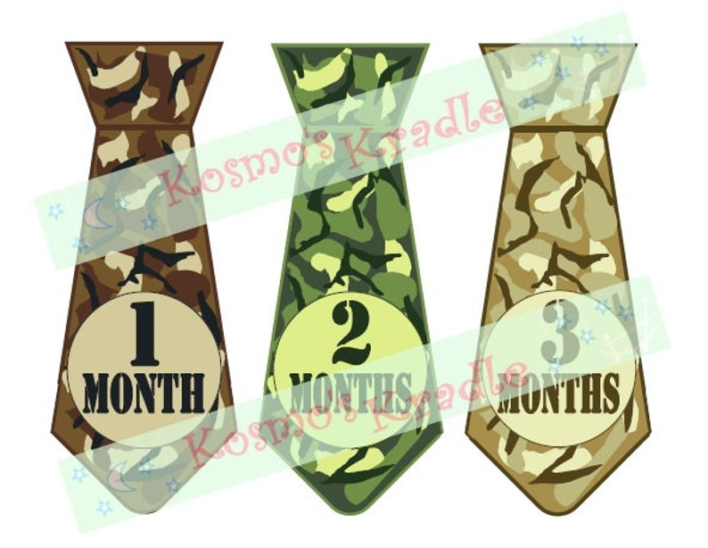 Camo Month Stickers / Camouflage Milestone / Camo Tie Monthly image 0