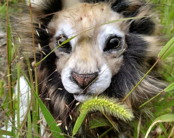 EXAMPLE LISTING ~Poseable realistic fantasy lion Art doll.