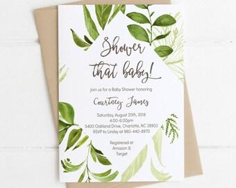 Green Laurel Baby Shower Invitation Download, Boy Baby Shower, Gender Neutral, Girl, Greenery Nature Woodland Baby Shower Invite 80J