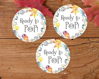 Ready To Pop Printable Stickers, Popcorn Bag Stickers, Cupcake Toppers, Baby Shower Decor, Fall Woodland Wreath, Boy Baby Shower