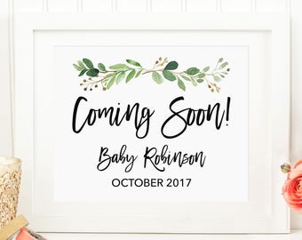 Pregnancy Announcement Sign, Baby Announcement Sign, Greenery Coming Soon Sign, Printable Pregnancy Announcement, Personalized 70J