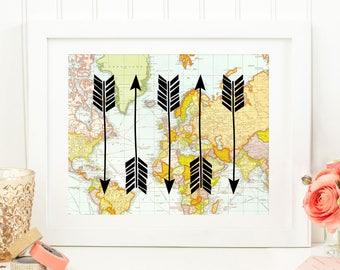 Arrow Printable Art Print, 8x10 Map Printable Art, Map Poster, Map Art Print, Map Arrow Print, Wander, Explore, Instant Download, Digital