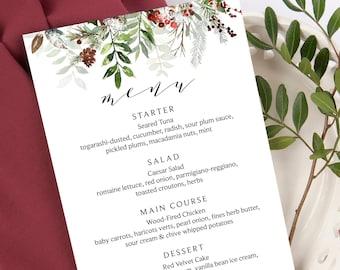 Winter Blue Wedding Long Menu Tea Card Food Courses Snowflakes Wedding Printable Tower Menu Digital Card Dinner Menu Winter Snow Wedding