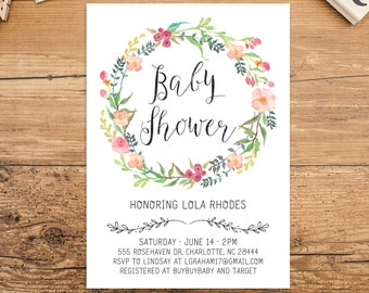 Floral Baby Shower Invitation Download, Boho Floral Wreath, Blush Pink, Mint Green, Girl Baby Shower Invite, Pastel Floral, Bohemian
