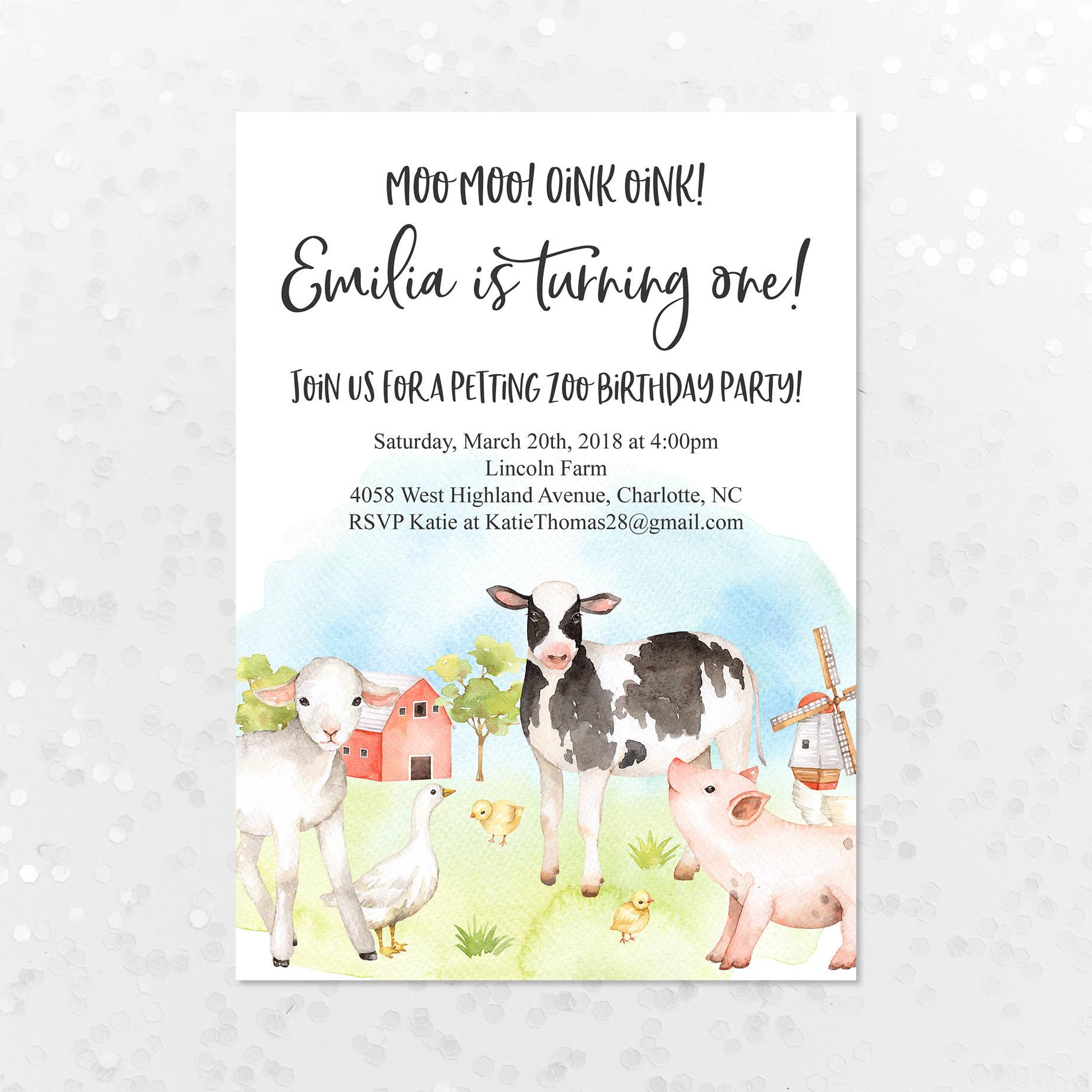Petting Zoo Farm Birthday Invitation Gender Neutral First   Etsy