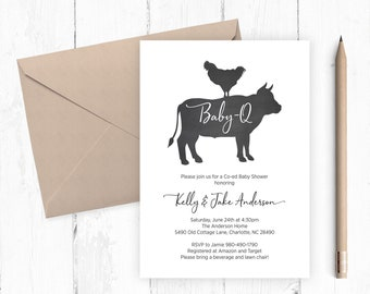 Baby-Q Barbecue BBQ Printable Co-Ed Baby Shower Invitation, 5x7 Chalkboard Chicken and Cow, Rustic Farm Gender Reveal Invite, Personalized
