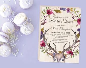 Bohemian Deer BRIDAL Shower Invitation 5x7 Printable Invite, Wedding Shower, Bachelorette Party, Purple and Blue Boho Floral Wreath Rustic