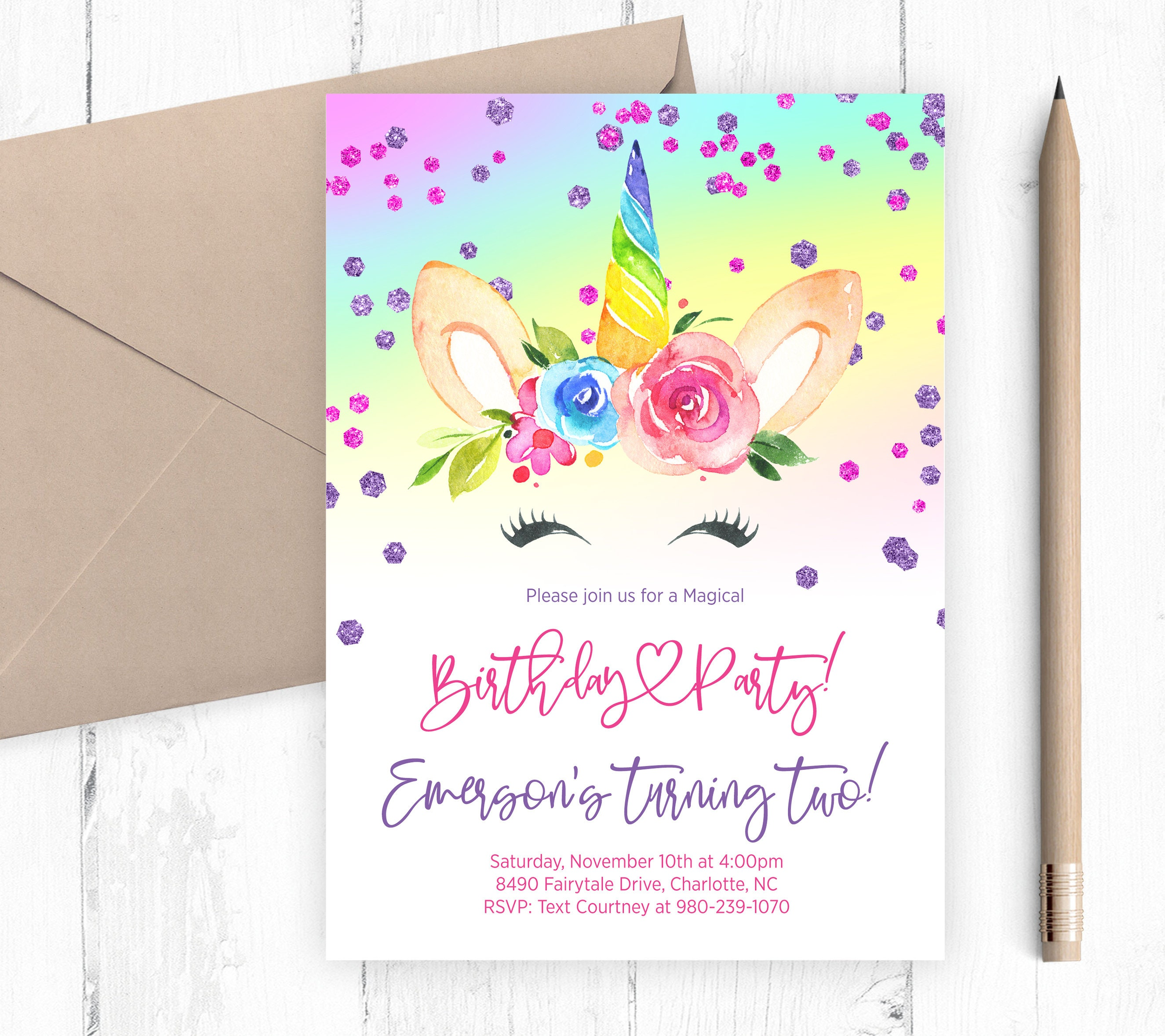 Unicorn Birthday Party Invitation Printable Digital File | Etsy