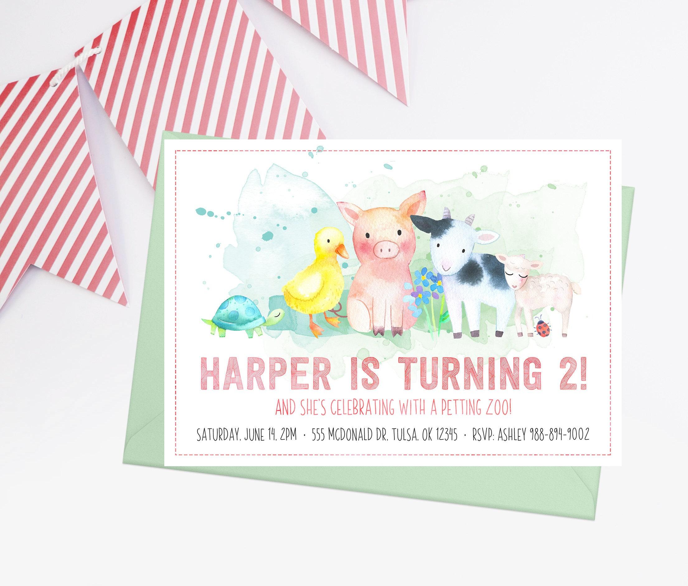 Petting Zoo Birthday Invitation Turning Two Birthday 2nd   Etsy