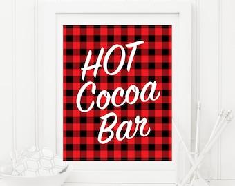 Hot Chocolate Bar, Hot Cocoa Bar Party Sign 8x10 Printable Red and Black Buffalo Plaid Party Print, Lumberjack Plaid, Buffalo Check, 20B