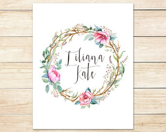 Custom Baby Name Printable Art Print, 8x10 Nursery Decoration, Wild Roses, Forest Nursery Art, Woodland Nursery Art, Cottage Chic Monogram