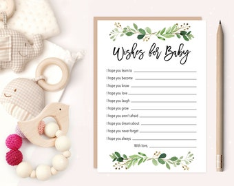 Greenery Wishes for Baby Printable Baby Shower Cards, 5x7 Inches, Watercolor Green Leaves, Green Laurels, Gender Neutral, Boy Shower 70J