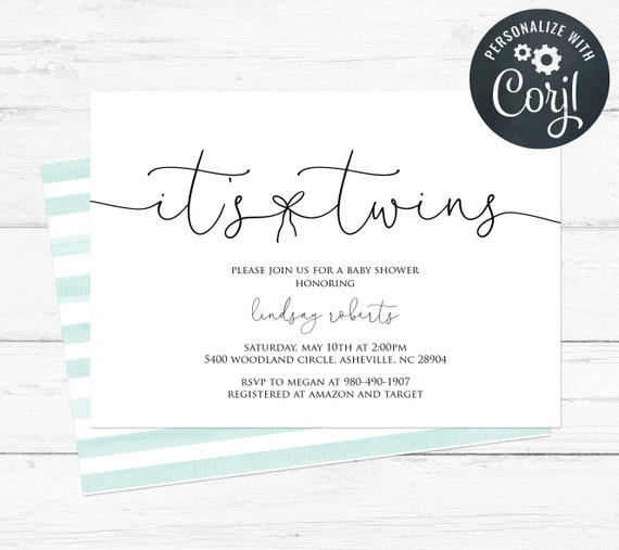 Editable Twins Baby Shower Invitation Template Simple Black And White Gender Neutral Mint Green Watercolor Stripes Back Design