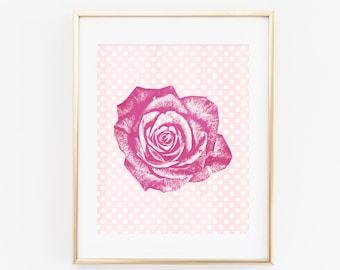 Rose Print, Rose Poster, 8x10 Printable Wall Art, Rose Art Print, Pink Nursery Print, Floral Print, Botanical Print Instant Download Pop Art