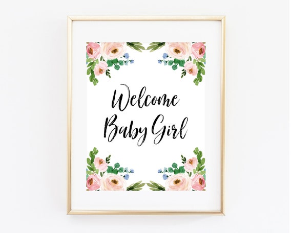 Watercolour Floral Baby Shower Welcome Sign Personalised White Design Digital File Printable
