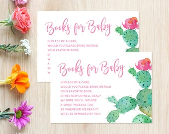 Cactus Books for Baby, Baby Shower Invitation Insert Download, Pink and Green Succulent Baby Shower, Cactus Girl Baby Shower