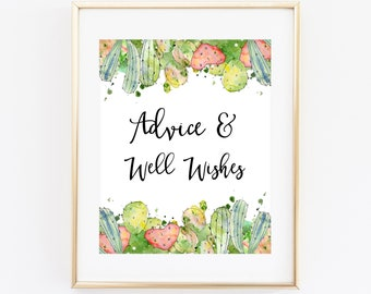 Cactus Baby Shower Advice And Well Wishes Sign 8x10 Printable, Advice for the Parents Mom-to-Be Bride-to-Be Cactus Succulent Cacti CAC4
