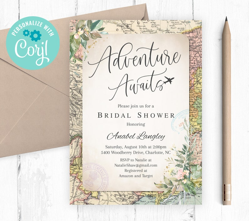 Bridal Shower Invitation Editable Template Instant Download Travel Bridal Shower Suitcase Invite Let the Adventure Begin Invite