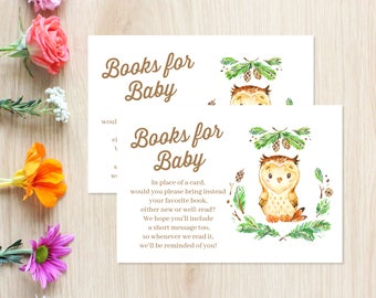 Owl Books for Baby Shower Invitation Insert, Books for Baby Poem, Baby Library Request Card, Gender Neutral, Evergreens, Owl Shower