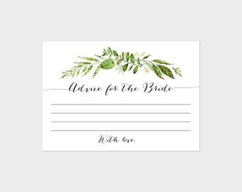 Advice for the Bride, Bridal Shower Game, Invitation Insert, Greenery, Green Wreath, Green Laurels, Botanical Natural Shower 80J