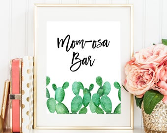 Cactus Baby Shower Mom-osa Bar Sign, Mimosa Bar, Cocktails 8x10 Printable, Watercolor Cactus Cacti Gender Neutral Southwest Fiesta Theme C23