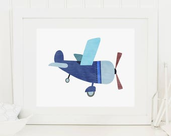 Airplane Nursery Print, Printable Art Print 8x10 Navy Blue and Green, Blue Nursery Wall Art, Boys Room Decor, Boys Nursery, Aeroplane Poster