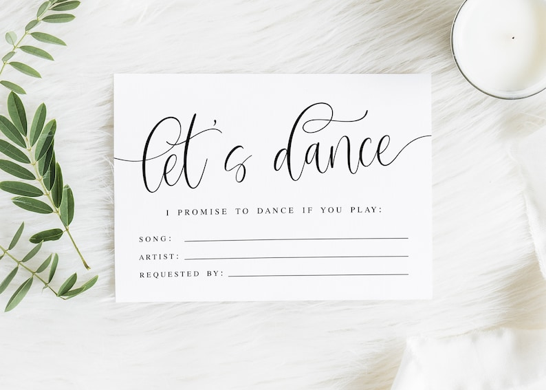 Wedding Song Request Cards Printable 3 5x5 Let's Dance, I Promise to Dance,  DJ Request Cards, Wedding Game, Dance Card, Digital File