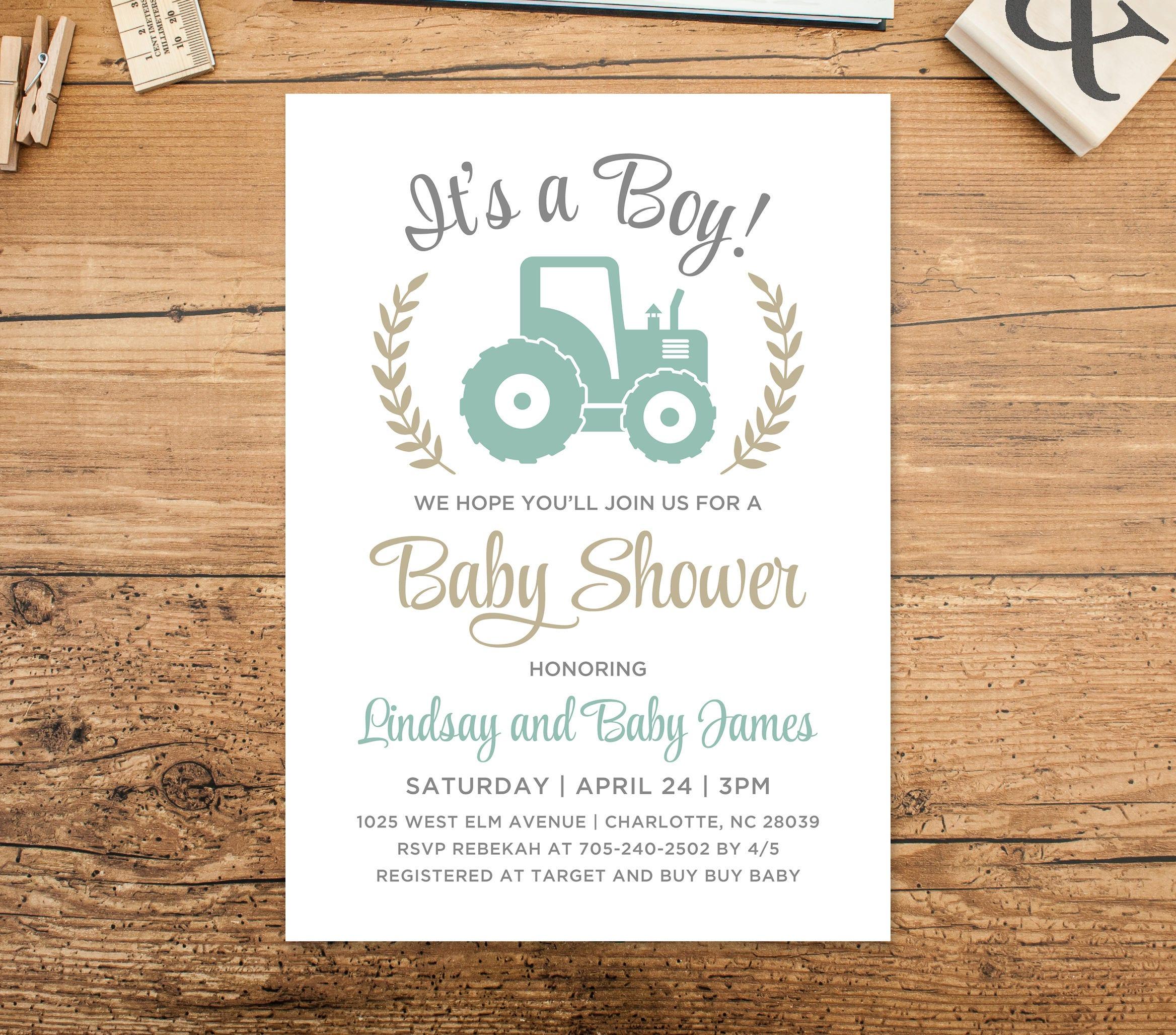 It\'s a Boy Baby Shower Invitation Mint Green Gray Tan | Etsy