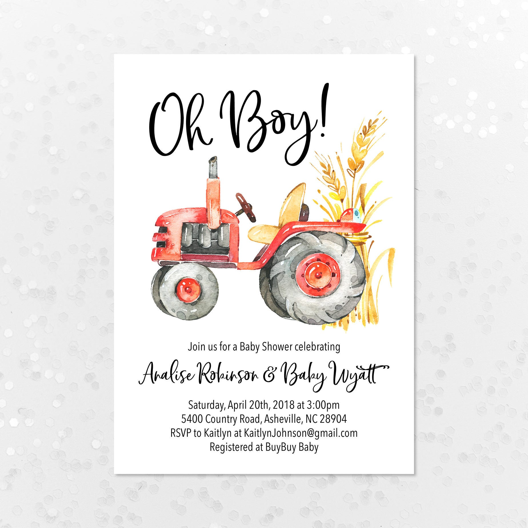 It\'s a Boy Tractor Baby Shower Invitation Printable | Etsy