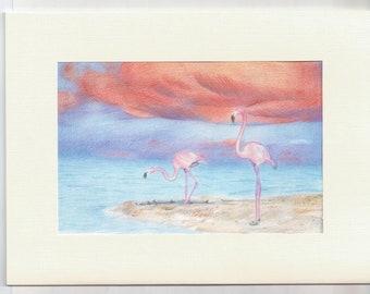 Flamingo-Karte, Flamingo Grußkarte, leere Flamingo-Karte, Karte für sie, tropischen Karte, Flamingo Geburtstagskarte, Freund-Karte
