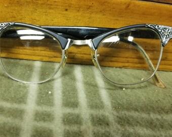 fd67f11cb9c9 VTG Artcraft Horn Rimmed Ornate Black Eyeglasses 22mm USA 12K GF. 4 1 2-5  3 4
