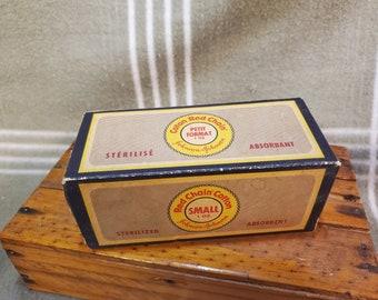 Vintage Johnson & Johnson 1oz Red Chain Cotton NOS in Original Box. Sterilized.
