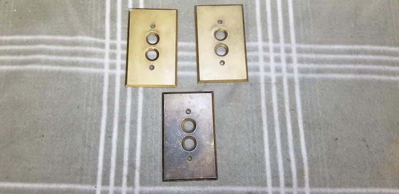 Antique Brass Push Button Wall Light Switch Plate Cover Multiple Available