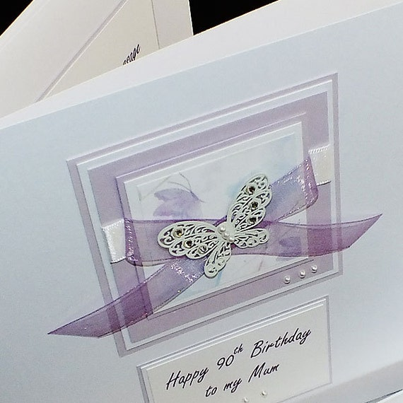 Luxury Handmade Birthday Card Large Lilac Etsy