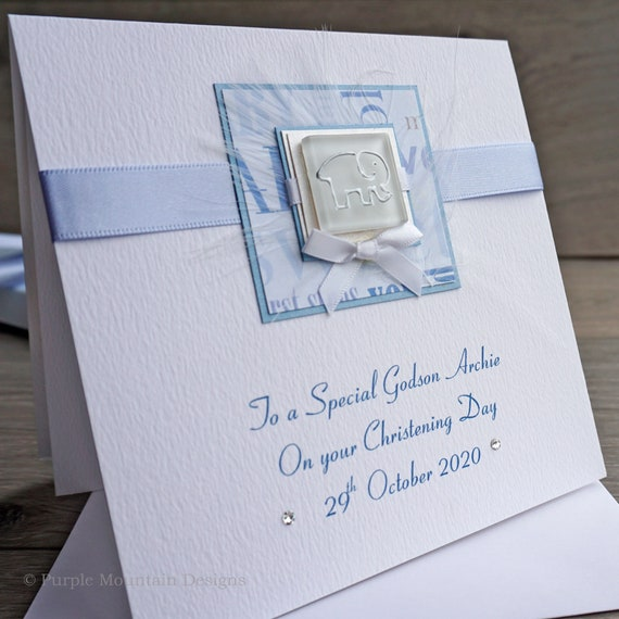 Personal Handmade christening card 14x14 cm