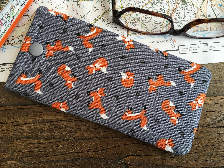 Grey Print Dog Print Handmade Fabric Sunglass case