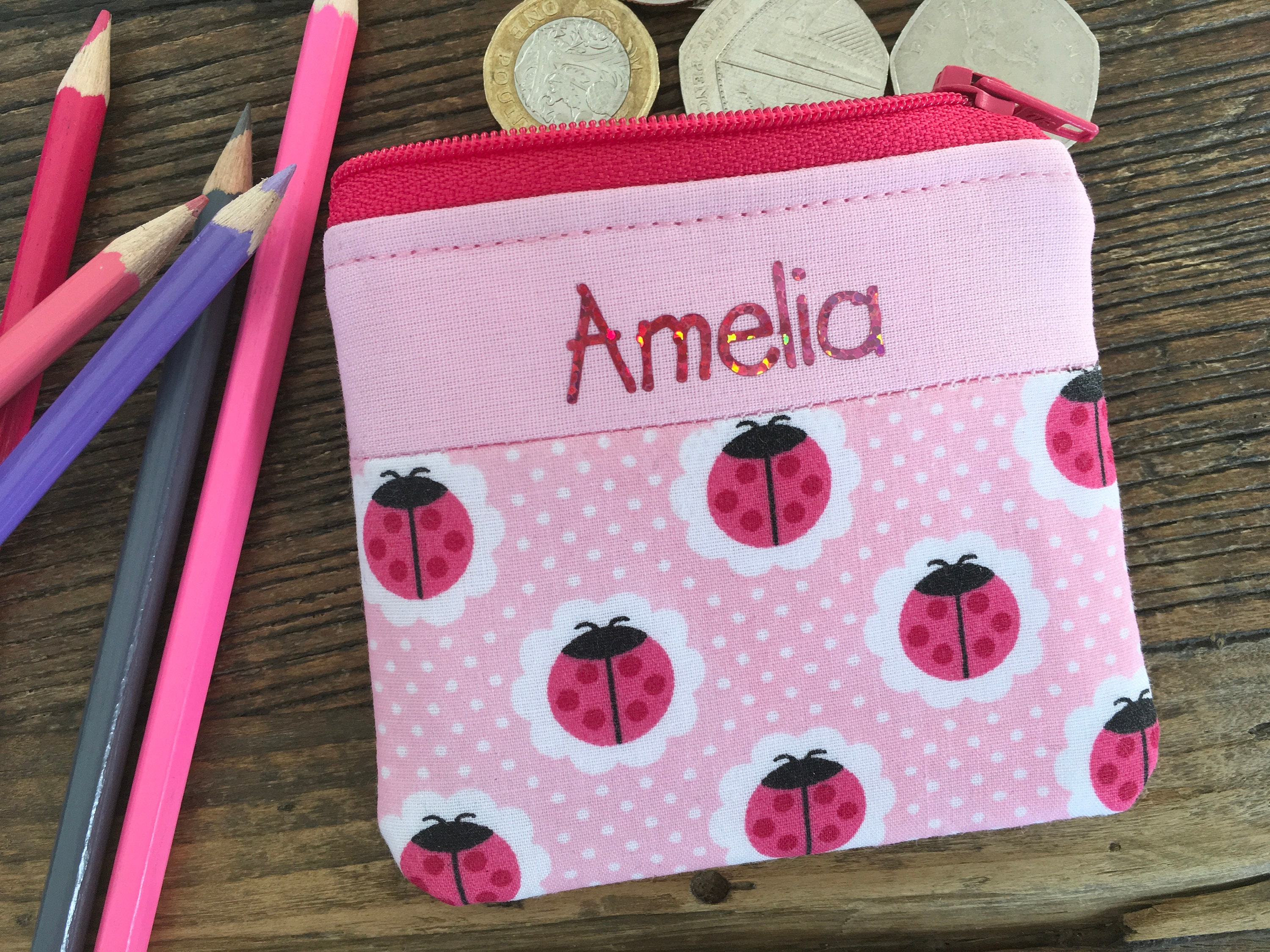 Personalised Aeroplanes Kids Mini Money Wallet Zip Pouch Coin Purse Wallet