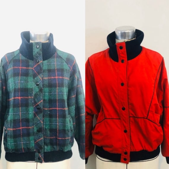 1980's size M Red and Green Reversible Flannel/Win